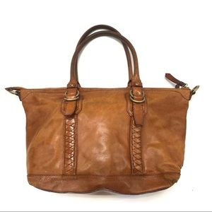 Cole Haan Brown leather shoulder bag with braided